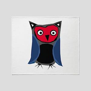 red & blue owl Throw Blanket