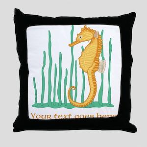 Personalized Orange Seahorse Throw Pillow