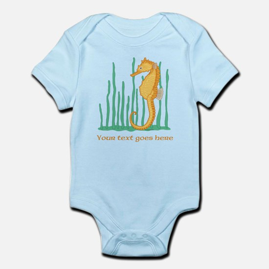 Personalized Orange Seahorse Infant Bodysuit