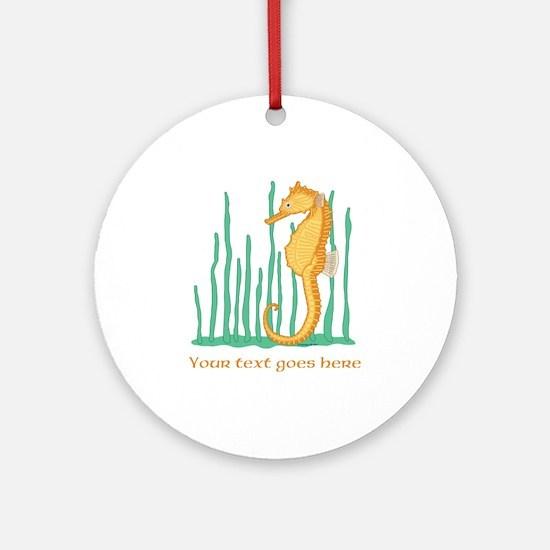 Personalized Orange Seahorse Ornament (Round)