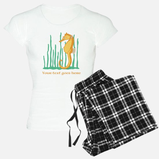 Personalized Orange Seahorse Pajamas