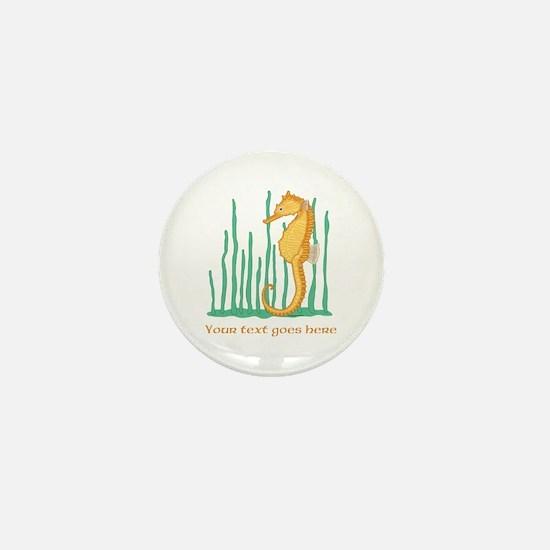Personalized Orange Seahorse Mini Button