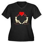 Hearts Rock Women's Plus Size V-Neck Dark T-Shirt