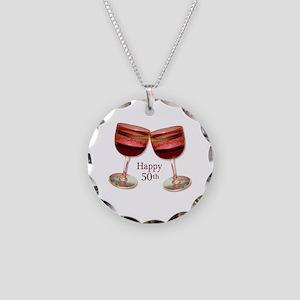 Happy 50th Birthday Wine Glasses Necklace Circle C