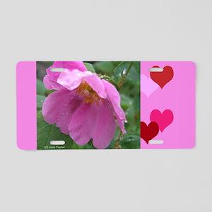 Alaska Wild Rose Aluminum License Plate