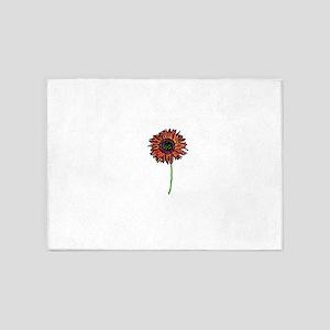 Red Himawari - Zen Sunflower 5'x7'Area Rug