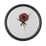 Red Himawari - Zen Sunflower Large Wall Clock
