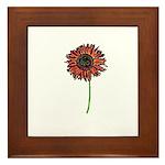 Red Himawari - Zen Sunflower Framed Tile