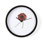Red Himawari - Zen Sunflower Wall Clock