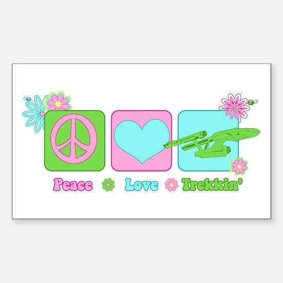 Peace Love NCC-1701 Sticker (Rectangle)