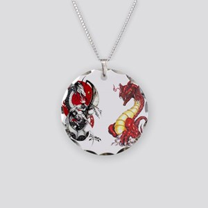 Double Dragons Necklace Circle Charm