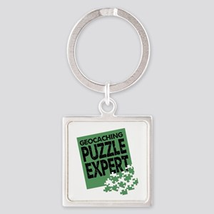 Geocaching Puzzle Expert Square Keychain