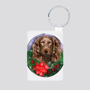 Boykin Spaniel Christmas Aluminum Photo Keychain