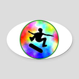 skater tie-dye Oval Car Magnet