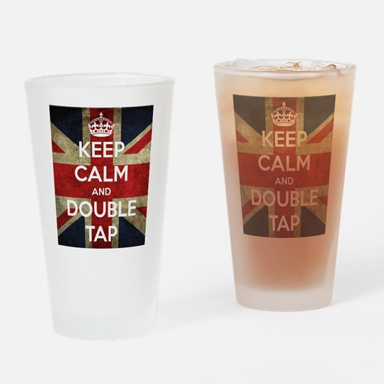 Keep Calm and Double Tap Drinking Glass