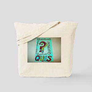 QUESTIONS cartoon design. Tote Bag