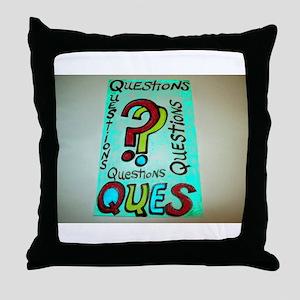 QUESTIONS cartoon design. Throw Pillow