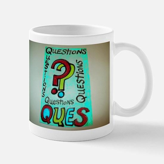 QUESTIONS cartoon design. Mug