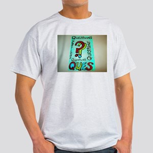 QUESTIONS cartoon design. Light T-Shirt