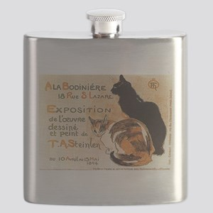 Black and Calico Cat Flask