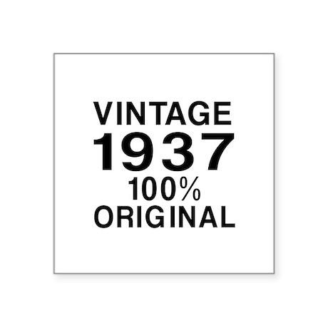 """Vintage 1937 Birthday Desig Square Sticker 3"""" x 3"""""""