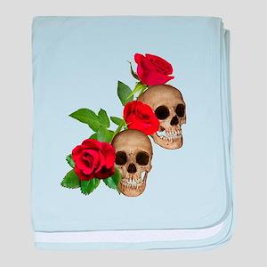 Skulls Roses baby blanket
