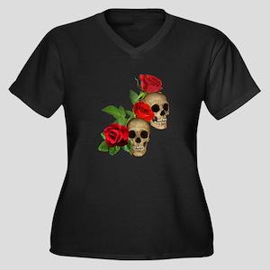 Skulls Roses Women's Plus Size V-Neck Dark T-Shirt