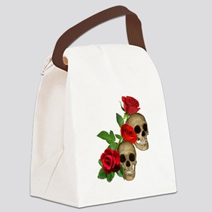 Skulls Roses Canvas Lunch Bag