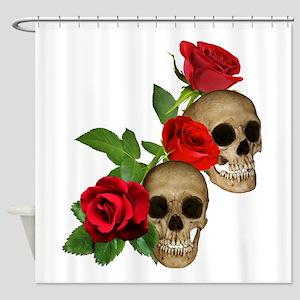 Skulls Roses Shower Curtain