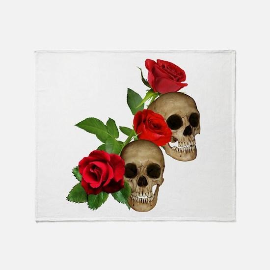Skulls Roses Throw Blanket