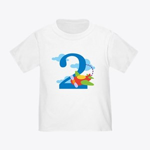 2nd Birthday Airplane Toddler T-Shirt