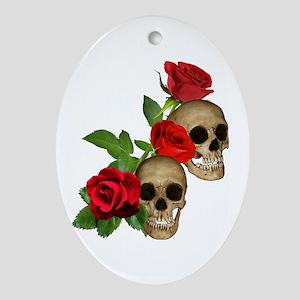 Skulls Roses Ornament (Oval)