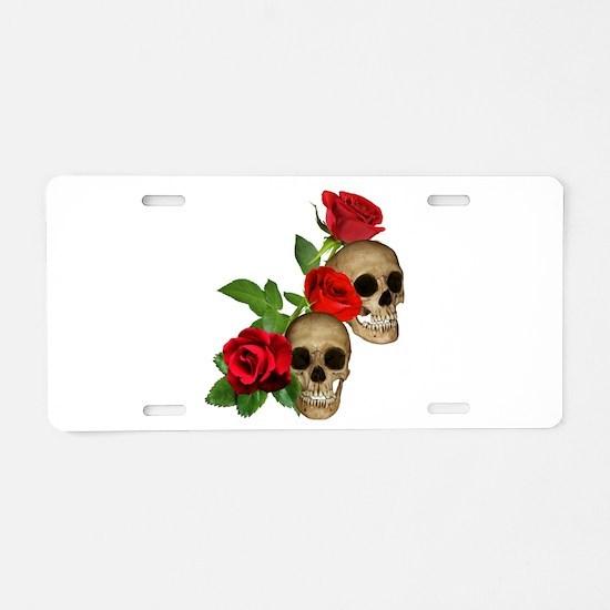 Skulls Roses Aluminum License Plate