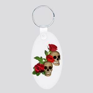 Skulls Roses Aluminum Oval Keychain