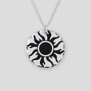 Tribal Sun Necklace Circle Charm