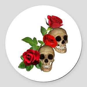 Skulls Roses Round Car Magnet