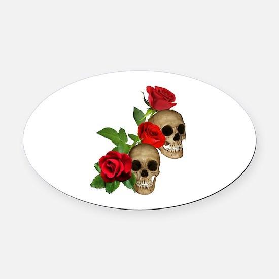 Skulls Roses Oval Car Magnet
