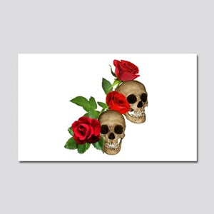 Skulls Roses Car Magnet 20 x 12