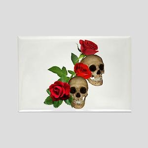 Skulls Roses Rectangle Magnet