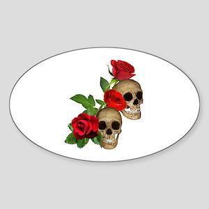 Skulls Roses Sticker (Oval)