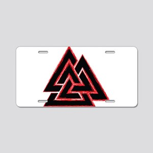 Valknut (red) Aluminum License Plate