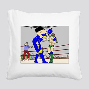 Wrestling Chair Hit Square Canvas Pillow