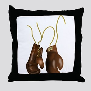 Leather Boxing Gloves Throw Pillow