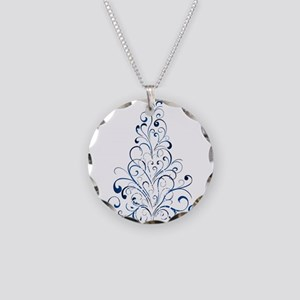 Christmas Tree Necklace Circle Charm