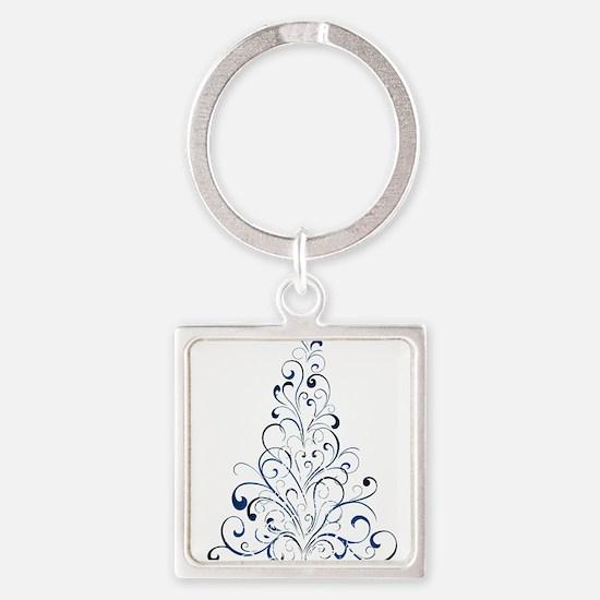 Christmas Tree Square Keychain