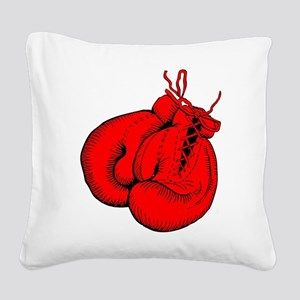 Red Boxing Gloves Square Canvas Pillow