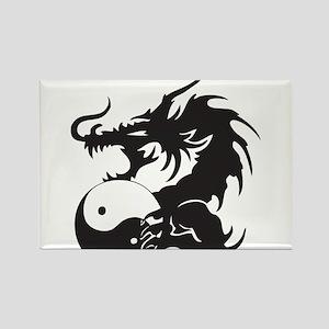 Yin Yang Dragon Rectangle Magnet
