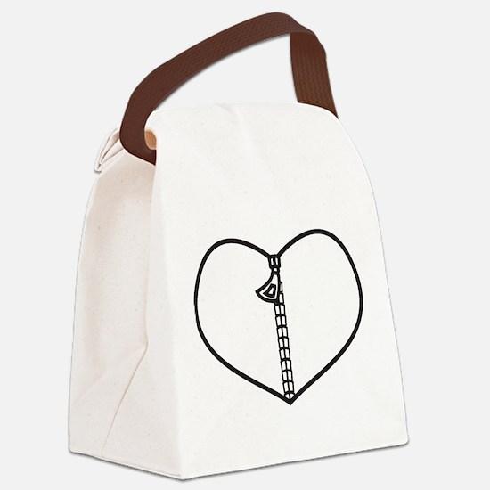 Zipper Heart Canvas Lunch Bag