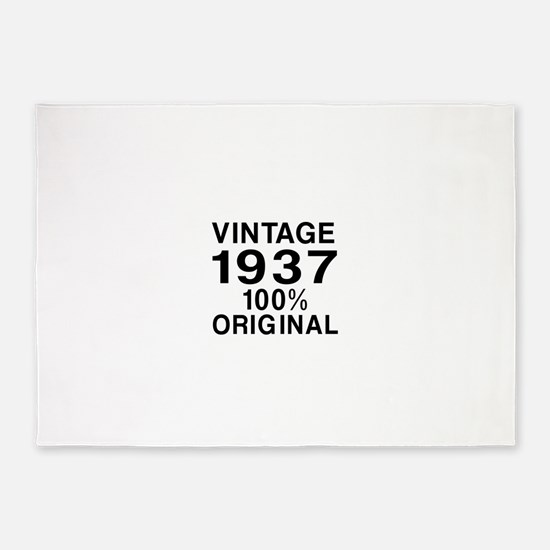 Vintage 1937 Birthday Designs 5'x7'Area Rug