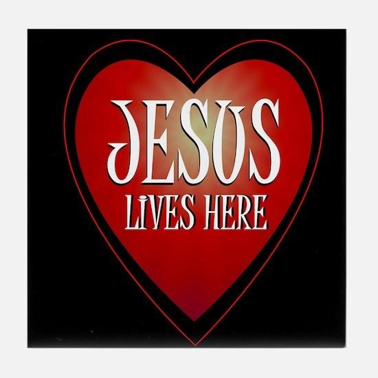 jesus lives here art illustration Tile Coaster
